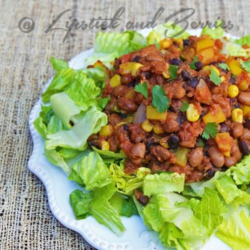 Simple Vegan Enchilada Salad. SOS-Free (Salt, Oil, Sugar Free) www.LipstickandBerries.com