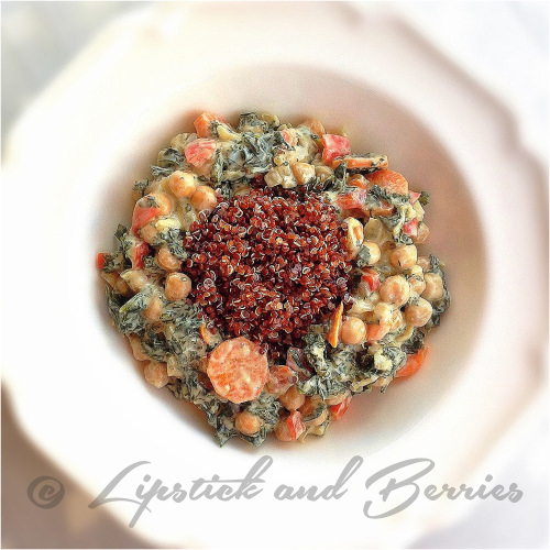 Vegan Creamy Kale with Red Quinoa. Salt, Oil, and Sugar Free! www.LipstickandBerries.com