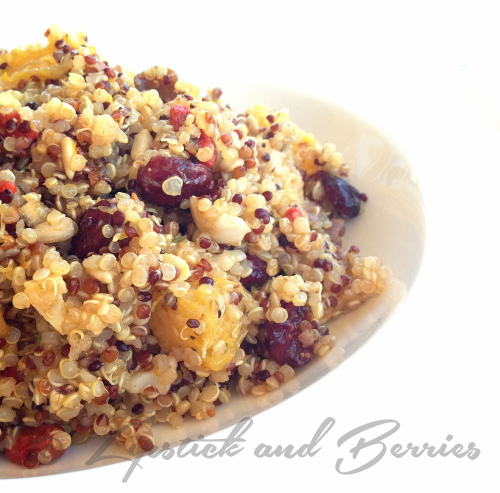 Rainbow Quinoa Salad with Citrus Vinaigrette.  Made without Salt, Oil, or Sugar!! Find out how at www.LipstickandBerries.com