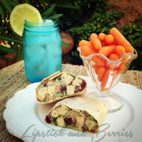 Vegan No-Chicken Salad, SOS-Free! www.LipstickandBerries.com