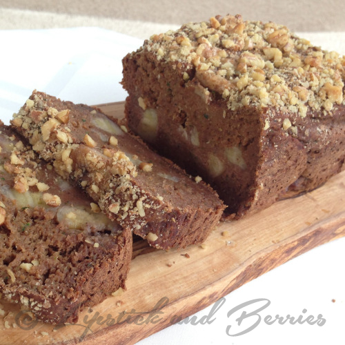 Vegan Spiced Zucchini Banana Bread. So moist!! It's free of salt, oil, and sugar too!  www.LipstickandBerries.com