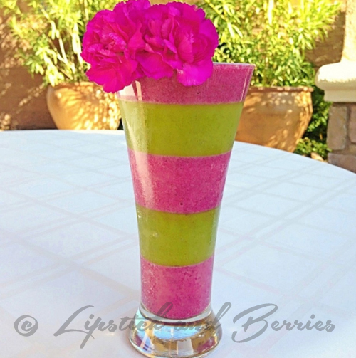 Layered Vegan Smoothie! Refined Sugar Free and 100% delicious. www.LipstickandBerries.com