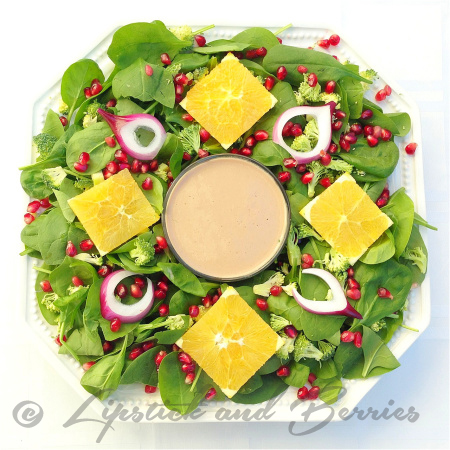 Holiday Power Salad with Pom-Dijon Dressing. Salt, Oil, Sugar Free! www.LipstickandBerries.com