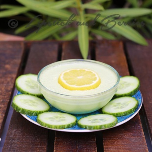 Home Made Cucumber Mask with only 3 simple ingredients.  This is a natural skin brightener and refresher!