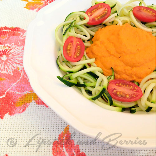 Carrot Ginger Sauce with Zoodles.  100% Raw Vegan, Oil-Free, Salt-Free, Sugar-Free, Gluten-Free! Delicious!! www.LipstickandBerries.com (main dish)