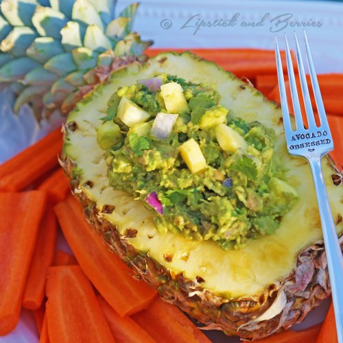"""Half the Fat"" Pineapple Guacamole! www.LipstickandBerries.com"