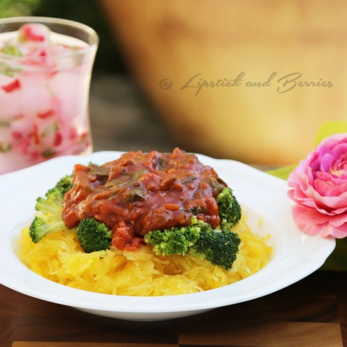 Vegan, Oil Free, Spaghetti Squash Marinara.  This is zesty and delicious without added Salt, Oil, or Sugar! www.LipstickandBerries.com