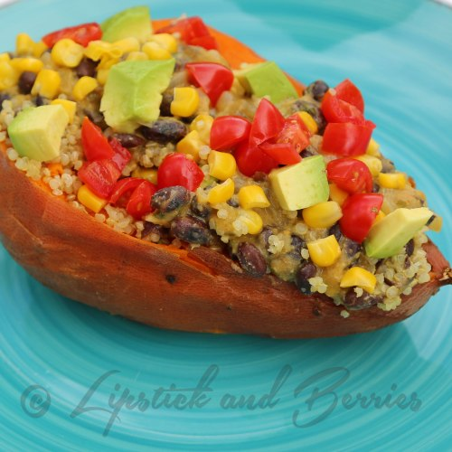 Vegan Southwestern Stuffed Sweet Potato with a Cheezy Cilantro Sauce! This is completely unprocessed and Salt, Sugar, and OIL-Free! www.LipstickandBerries.com