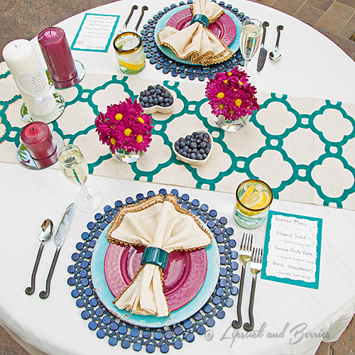Ourdoor Anniversary Tablescape using Pier 1, Williams Sonoma, Dillards Home