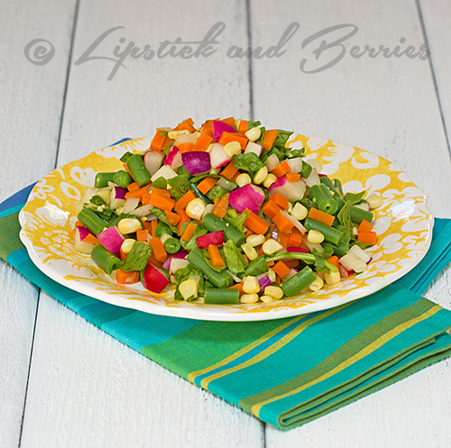 Chopped Salad with Oil-Free Shallot Vinaigrette  #vegan #sosfree #oilfree #lowfat #gourmet